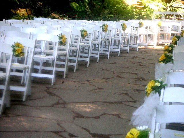 Floral Decorations On Wedding Ceremony Chairs California Flower