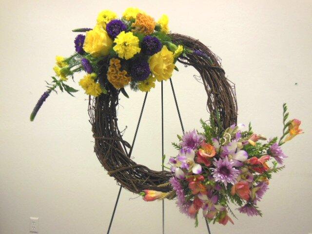 buy a plain basket at craft shop for basket flower arrangement